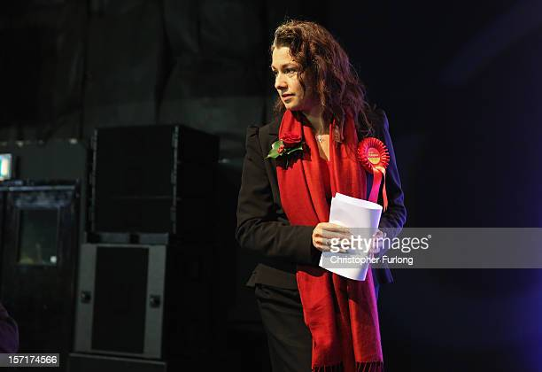 Labour's newly elected Member of Parliament Sarah Champion walks on to the stage to be declared the winner of the Rotherham byelection on November 30...