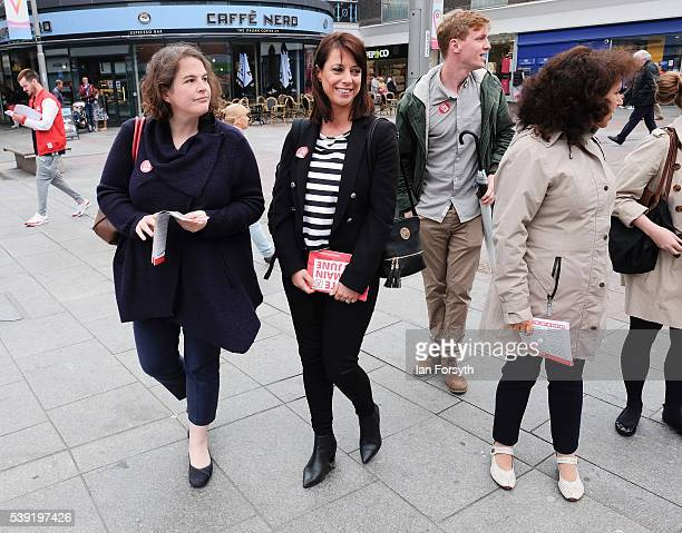 Labour's Shadow Cabinet Minister Gloria de Piero walks through the streets of Sunderland centre on her way to meet with a group of women voters to...
