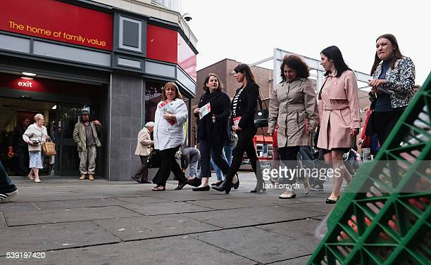 Labour's Shadow Cabinet Minister Gloria de Piero walks through the streets on her way to meet with a group of women voters to talk about the...