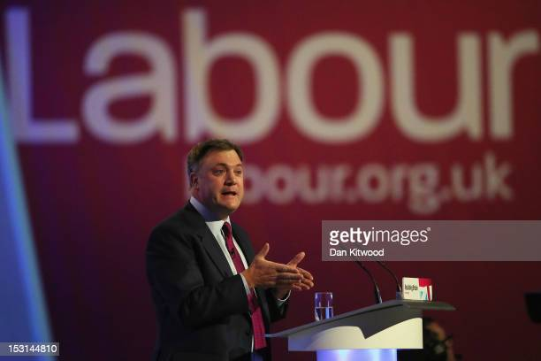 Labour's Shadow Chancellor Ed Balls delivers his keynote speech to delegates at the Labour Party Conference at Manchester Central on October 1 2012...