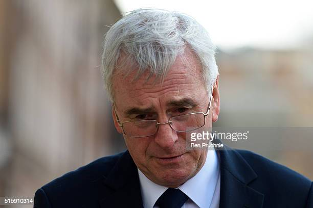 Labour's Shadow Chancellor John McDonnell arrives in Westminister for an interview after British Chancellor of the Exchequer George Osborne revealed...