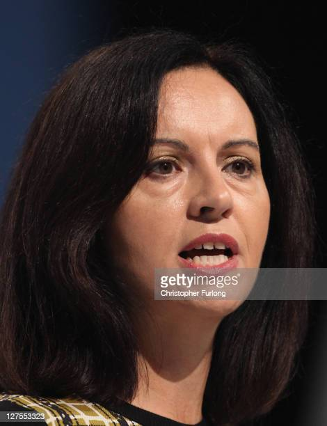 Labour's shadow communities secretary Caroline Flint addresses the Labour party conference at the Echo Arena on September 29 2011 in London England...
