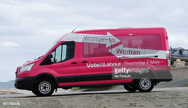 Labour's Woman to Woman tour bus is pictured on a seafront slipway on March 27 2015 in Redcar England The Pink Bus is part of the party's Woman to...