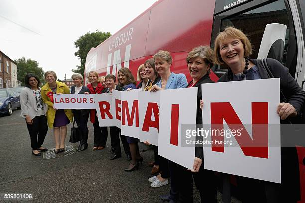 Labour's Women In For Britain campaign pose for the media outside Palfrey Sure Start Centre as they join the Labour In battle bus to campaign in the...