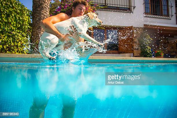 Labrador dog playing with his owner swimming in the home swimming pool during a hot day in summer, cooling off with underwater view.