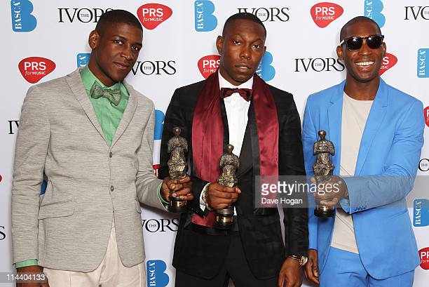 Labrinth Dizzee Rascal and Tinie Tempah pose with their awards in the press room at The Ivor Novello Awards 2011 at The Grosvenor House Hotel on May...
