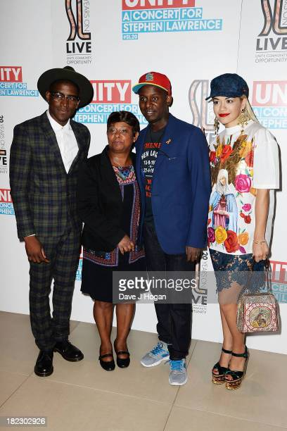 Labrinth Doreen Lawrence Stuart Lawrence and Rita Ora pose in the green room at Unity A Concert For Stephen Lawrence in aid of The Stephen Lawrence...