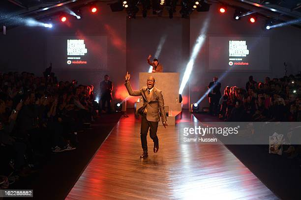Labrinth performs at the launch of Vodafone London Fashion Weekend at Somerset House on February 21 2013 in London England