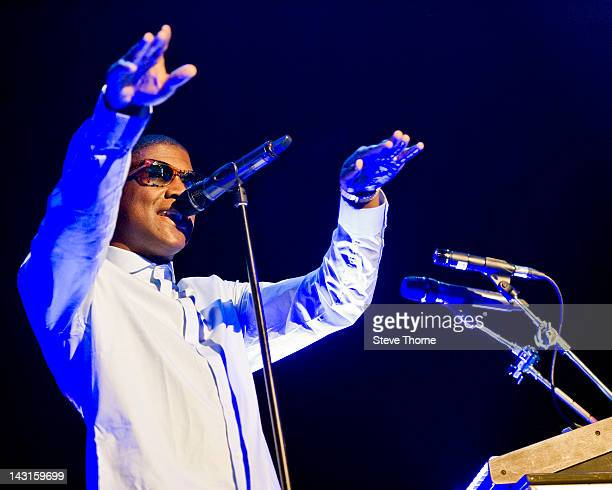 Labrinth performs on stage at LG Arena on April 19 2012 in Birmingham United Kingdom