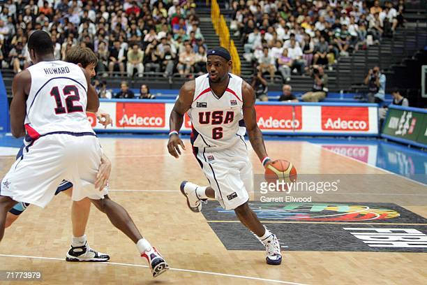 LaBron James of the USA Basketball Mens Senior National Team goes to the basket against Argentina during the FIBA World Basketball Championship on...