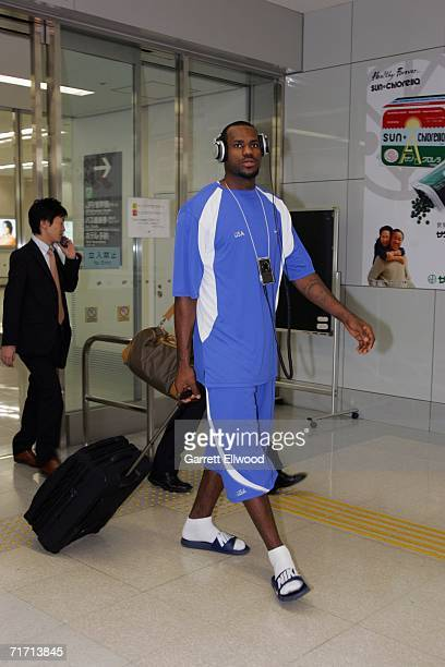 LaBron James of the USA Basketball Senior Men's National Team arrives at Tokyo International Airport for the FIBA World Basketball Championships on...
