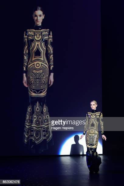 'Labyrinth Gown' by Ben Gould and Dawn Mostow of the United States is modelled after winning the Wearable Technology Award during the World of...