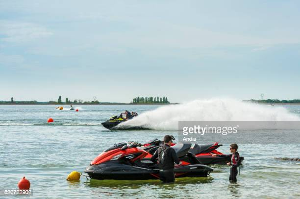 Lac d'Amance lake in the Orient Forest Regional Nature Park Sports and recreation park jet skiing in Dienville