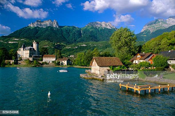 lac d'annecy, haute savoie, rhone alpes, france, europe - lake annecy stock photos and pictures