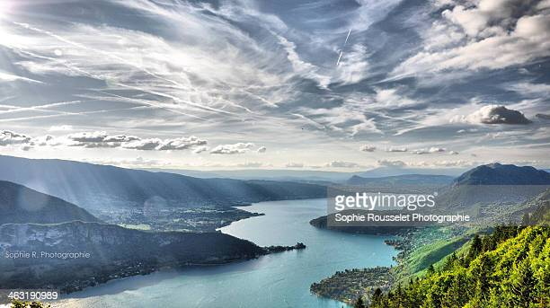 lac d'annecy - lake annecy stock photos and pictures