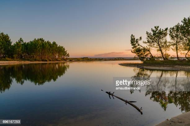 Lac d'Hourtin at sunset, Gironde, France