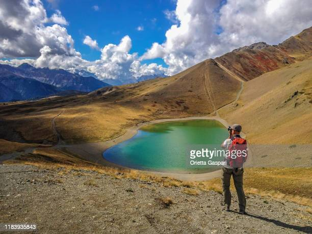 lac gignoux (or lake of the 7 colors), italian french border - named wilderness area stock pictures, royalty-free photos & images