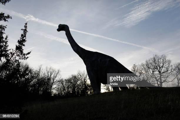 'Prehistodino parc' theme park with moving dinosaurs here a diplodocus