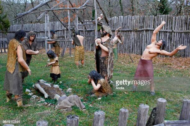 theme park 'Prehistodino parc' Reproduction of a prehistoric scene