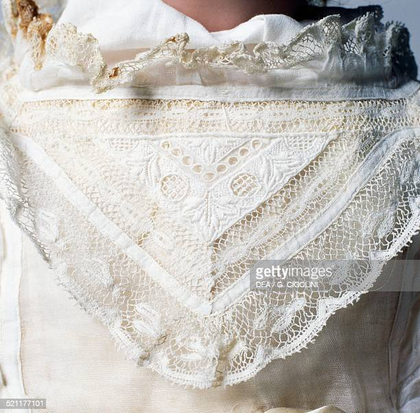 Lace collar detail of Baby doll No 996 made by Armand Marseille Germany 20th century Germany