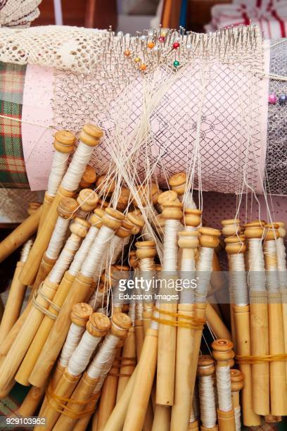 Lace making Bobbins thread and pillow