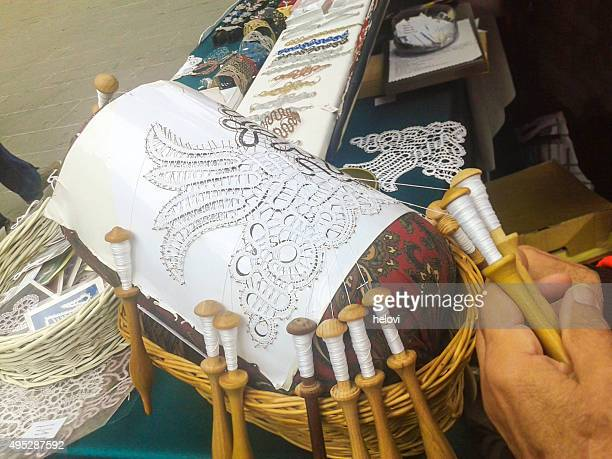 lace making by hand - lacemaking stock pictures, royalty-free photos & images