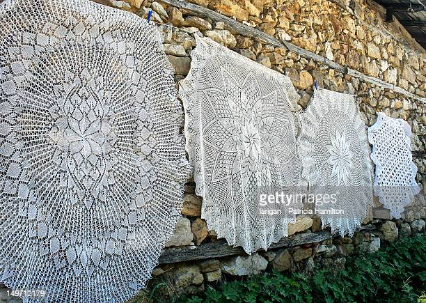 lace table cloths - needlecraft stock pictures, royalty-free photos & images