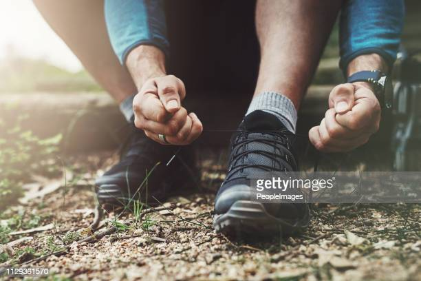laced up and ready to go - hiking boot stock pictures, royalty-free photos & images