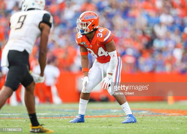 Lacedrick Brunson of the Florida Gators looks on during a game against the Towson Tigers at Ben Hill Griffin Stadium on September 28 2019 in...