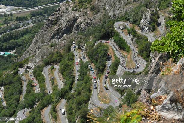 Lacets De Montvernier / Landscape / Peloton / during the 105th Tour de France 2018 Stage 12 a 1755km stage from BourgSaintMaurice Les Arcs to Alpe...