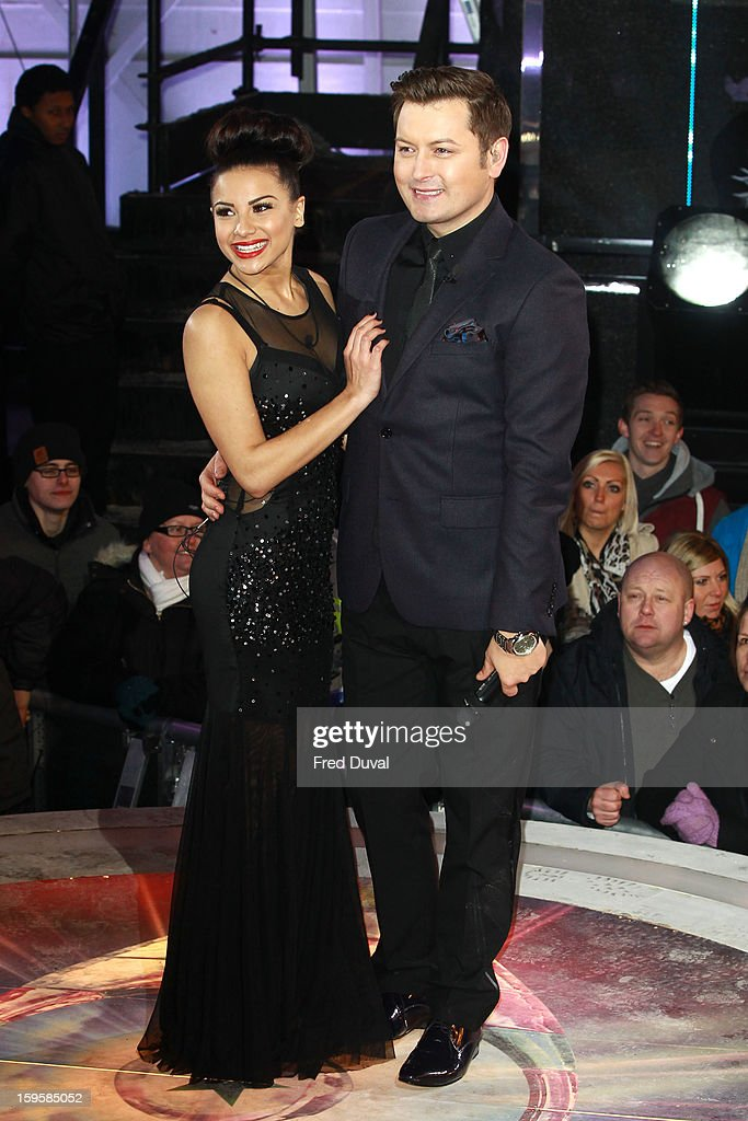 Lacey Banghard and Brian Dowling pose after Lacey is the 3rd celebrity evicted from the Big Brother house at Elstree Studios on January 16, 2013 in Borehamwood, England.