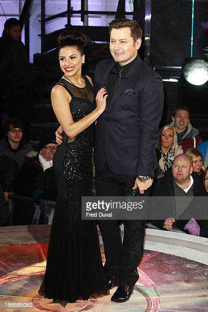 Lacey Banghard and Brian Dowling pose after Lacey is the 3rd celebrity evicted from the Big Brother house at Elstree Studios on January 16 2013 in...