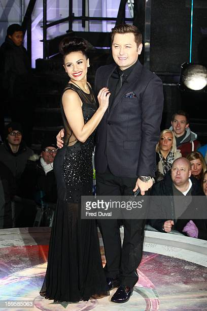 Lacey Banghard and Brian Dowling pose after Lacey is the 3rd celebrity evicted from the Big Brother house at Elstree Studios on January 16, 2013 in...