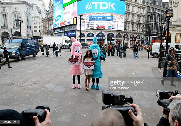 Lacey Banghard attends a photocall for PETA to encourage pet owners to have their cats and dogs sterilised at Picadilly Circus on January 22, 2013 in...