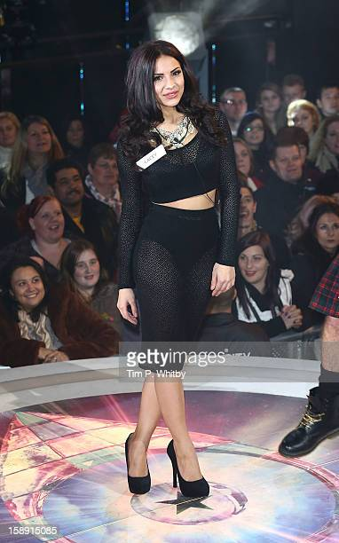 Lacey Banghard enters the Celebrity Big Brother House at Elstree Studios on January 3 2013 in Borehamwood England