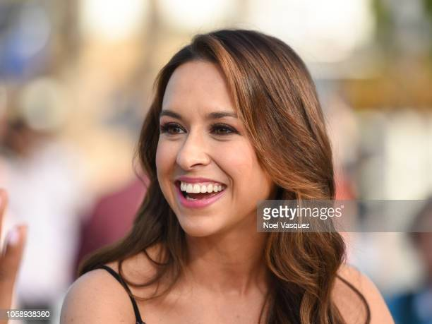 "Lacey Chabert visits ""Extra"" at Universal Studios Hollywood on November 7, 2018 in Universal City, California."