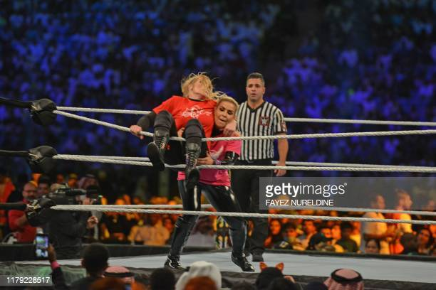 Lacey Evans fights against Natalya during the World Wrestling Entertainment Crown Jewel payperview in Riyadh on October 31 2019