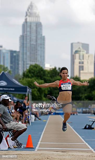 Lacey Henderson competes in the Women's Long Jump in the shadow of Charlotte's skyline during the US Paralympic Trials at Irwin Belk Complex at...