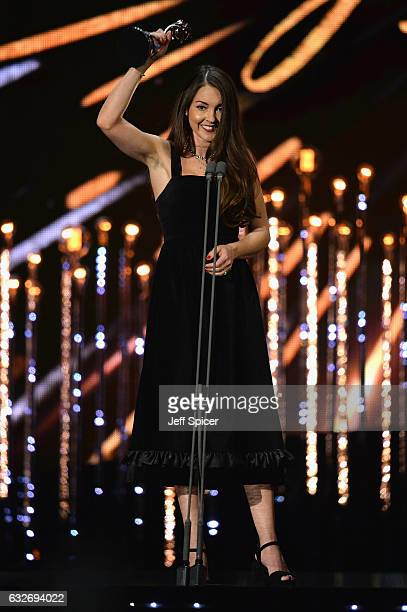 Lacey Turner accepts the award for Best Serial Drama Performance on stage during the National Television Awards at The O2 Arena on January 25 2017 in...
