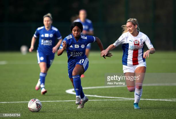 Lachante Paul of Leicester City is closed down during the Barclays FA Women's Championship match between Leicester City Women and Crystal Palace...
