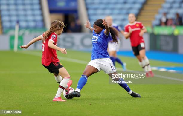 Lachante Paul of Leicester City Women in action with Hannah Blundell of Manchester United Women during the Barclays FA Women's Super League match...
