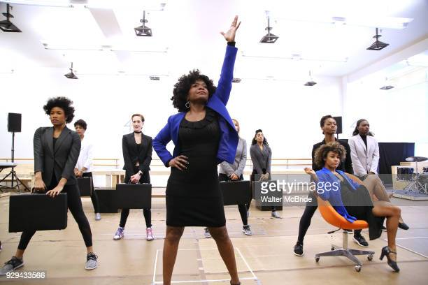 LaChanze and Ariana DeBose with cast during the press presentation for 'Summer The Donna Summer Musical' on March 8 2018 at the New 42nd Street...