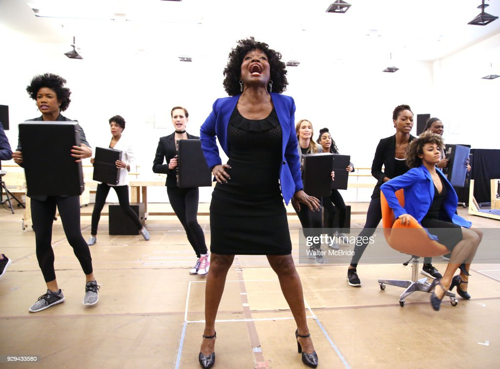 LaChanze and Ariana DeBose with cast during the press presentation for 'Summer: The Donna Summer Musical' on March 8, 2018 at the New 42nd Street Studios, in New York City.