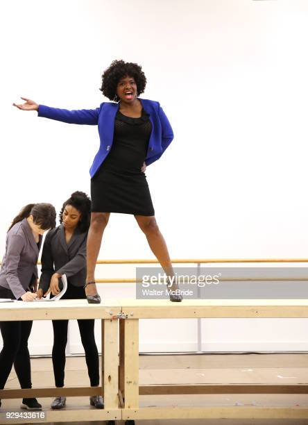 LaChanze with cast during the press presentation for 'Summer The Donna Summer Musical' on March 8 2018 at the New 42nd Street Studios in New York City