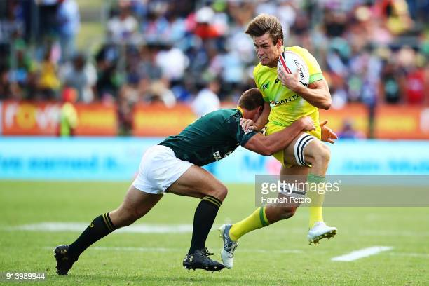 Lachie Anderson of Australia charges forward against South Africa in the semi final during the 2018 New Zealand Sevens at FMG Stadium on February 4...