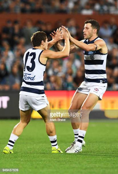Lachie Fogarty of the Cats celebrates a goal during the round five AFL match between the Port Adelaide Power and the Geelong Cats at Adelaide Oval on...
