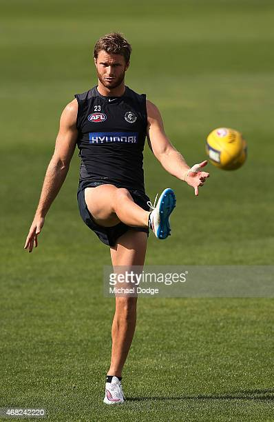 Lachie Henderson of the Blues kicks the ball during a Carlton Blues AFL training session at Ikon Park on April 1 2015 in Melbourne Australia