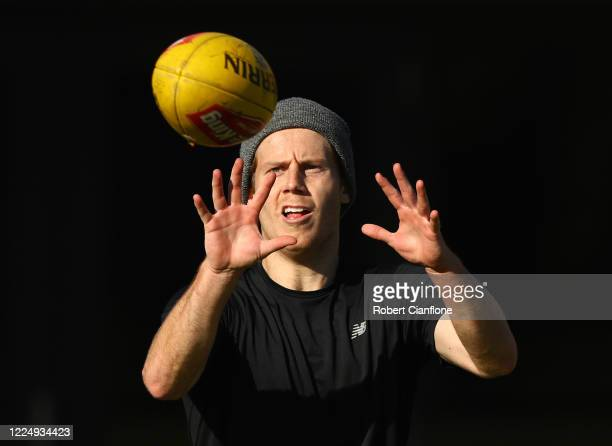 Lachie Hunter of the Bulldogs is seen training in Port Melbourne on May 15 2020 in Melbourne Australia