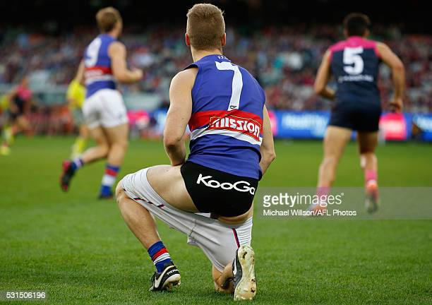 Lachie Hunter of the Bulldogs looks on with his shorts down during the 2016 AFL Round 08 match between the Melbourne Demons and the Western Bulldogs...