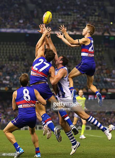 Lachie Hunter of the Bulldogs marks during the round two AFL match between the Western Bulldogs and the North Melbourne Kangaroos at Etihad Stadium...